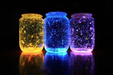 Three-colored-glowing-jars