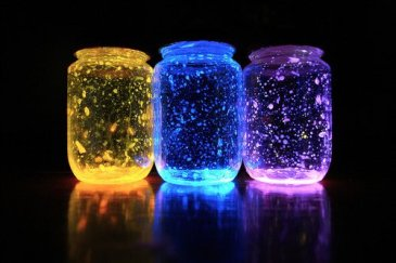 Three-colored-glowing-jars