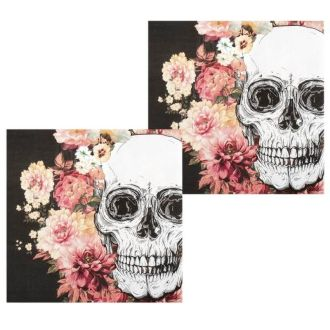 12_serviettes_en_papier_-_crane_et_fleurs