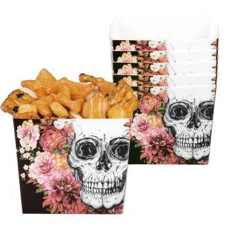 6_coupelles_en_carton_-_crane_et_fleurs